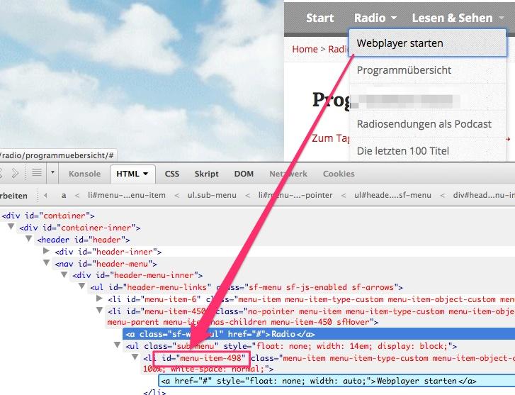Javascript (z.B. onClick) im WordPress-Menü ausführen