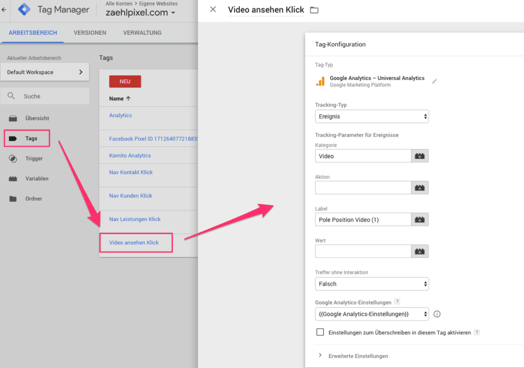 Basics: Klicktracking mit dem Google Tag Manager 4